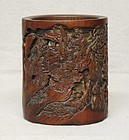 Very Well Carved Bamboo Brush Holder, Early 20th C.