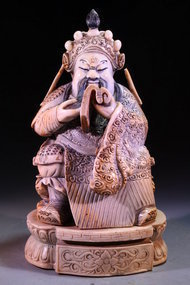 Chinese Carved Seated Emperor,