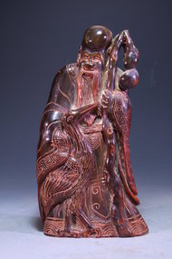 Antique Chinese Fine Carved Horn  Shoulao Figure