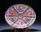 FINE 19 C. CHINESE ROSE MEDALLION PORCELAIN PLATTER,