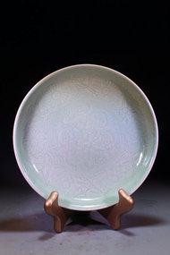 Superior Chinese Celedon Porcelain Plate,