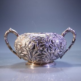 FINE ANTIQUE CHINESE EXPORT SILVER SUGAR DISH