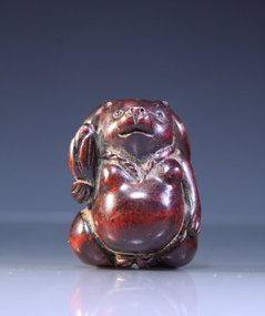Antique Japanese Carved Wood Netsuke,