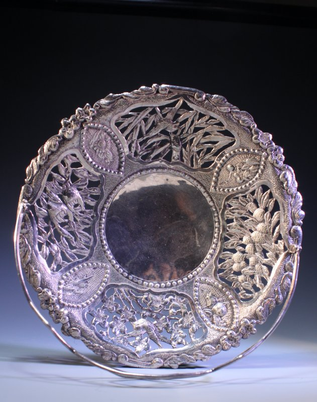 19th C. Chinese Silver Basket,