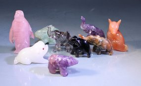 Chinese Carved Hardstone Animal Figures: