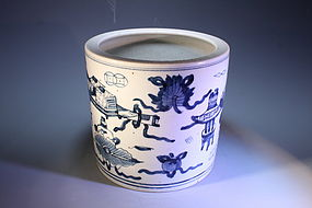 Large Chinese Porcelain Brushpot,