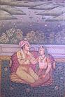 Unusual Indian Miniature Gilt Painting on Marble Panel,
