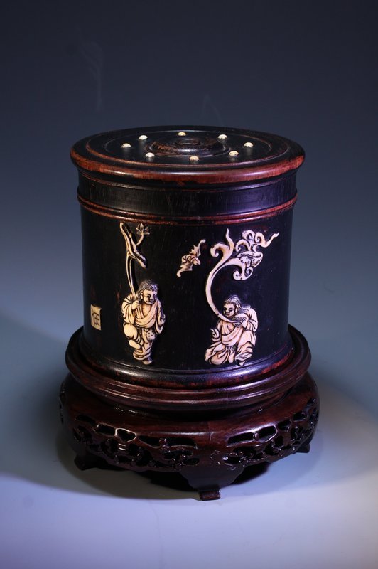 Chinese Zitan Carved Cosmetic Box w/ Bone Inset,