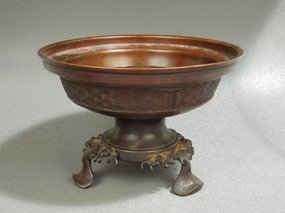 Chinese Bronze Censer, Lotus Feet.