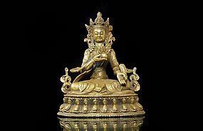 SINO-TIBETAN GILT BRONZE SEATED BUDDHA, 19th C.