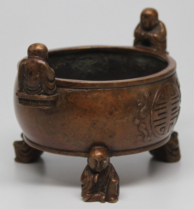 19th C. Fine Chinese Bronze Smoked Censer,
