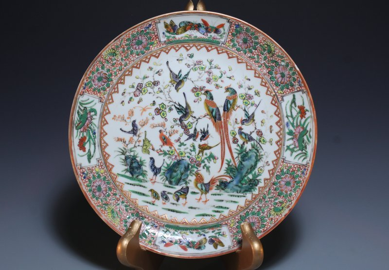 Rare Qing Chinese Rose Medallion Porcelain Plate,