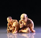 Japanese Carved Ivory Netsuke Figures,