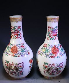 Pair of Chinese Enameled Porcelain Vases,