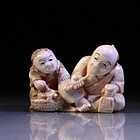 Japanese Carved Ivory Netsuke Figures,