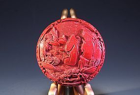 Chinese Carved Cinnabar Lacquered Box,