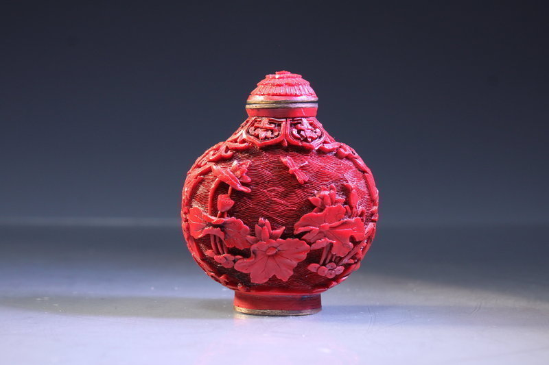 Chinese Carved Cinnabar Lacquered Snuff Bottle,