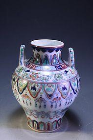 Chinese Ducai Enameled Porcelain Vase,