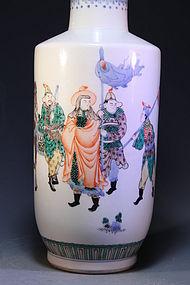 Tall Chinese Enameled Porcelain Vase,