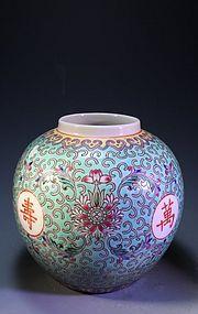 Antique Chinese Enameled Turquoise Porcelain Jar