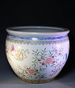 Fine Chinese Famille Rose Porcelain Fish Bowl,