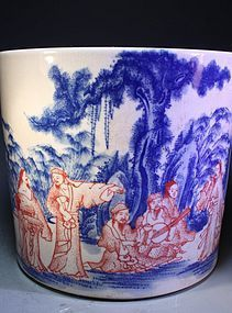 Antique Chinese Porcelain Brush Pot,