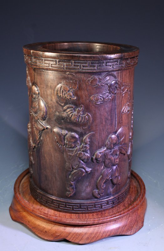Finely Carved Chinese Hardwood Brush Pot,