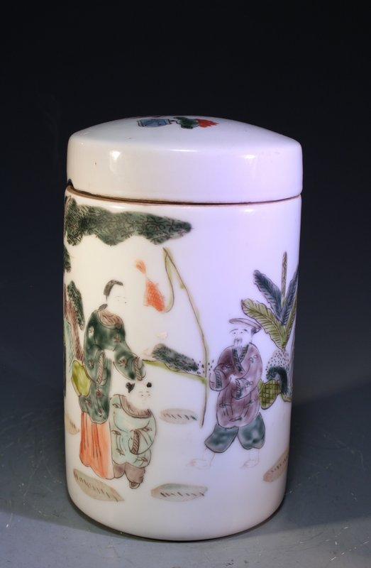 Chinese Enameled Porcelain Lidded Jar,