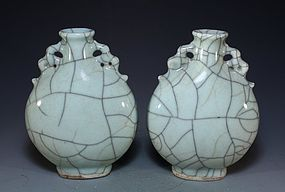 Pair of Chinese Celadon Glaze Crackle Vases,