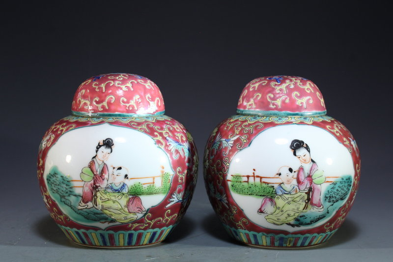 Pair of Polychrome Enameled Porcelain Ginger Jars,