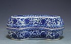 Chinese Blue-and-White Porcelain Lidded Box,
