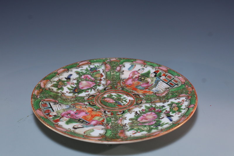 Chinese Rose Medallion Enameled Porcelain Plate