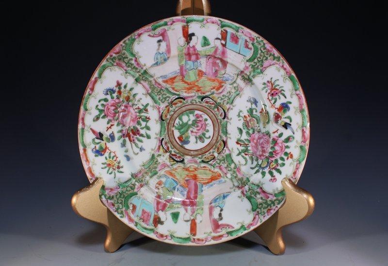 19th C. Chinese Rose Medallion Enameled Porcelain Plate