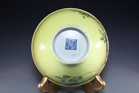 Fine Chinese Qing Yellow Porcelain Bowl,