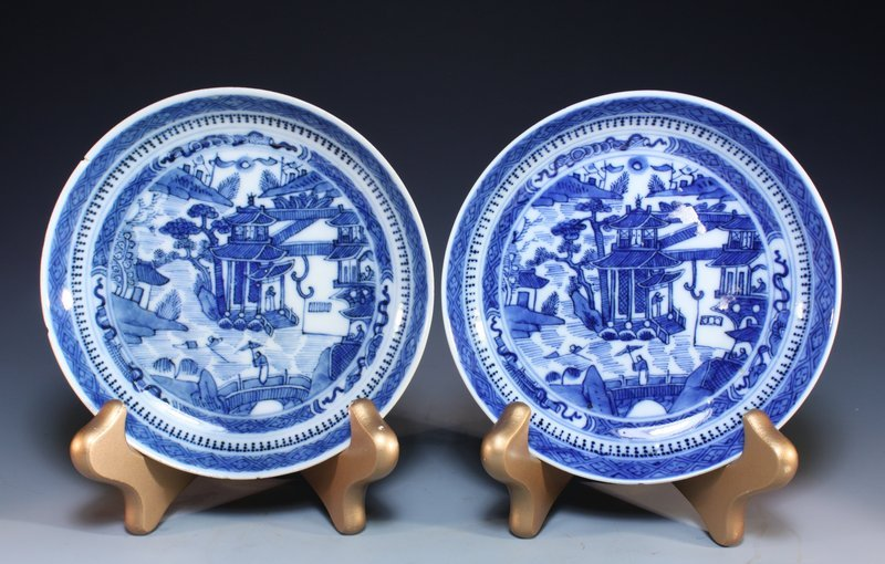 Pair of Chinese Blue & White Porcelain Plates,