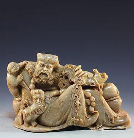 Chinese Shou-Shan Stone Carving, Louhan