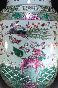 Chinese Famille Verte Enameled Porcelain Dragon Vase