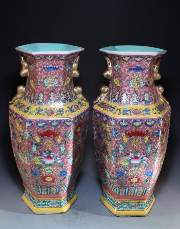 Pair of Chinese Famille Rose Enameled Porcelain Vases,