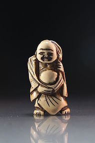 Antique Japanese Carved Stag Antler Netsuke, Hotei.