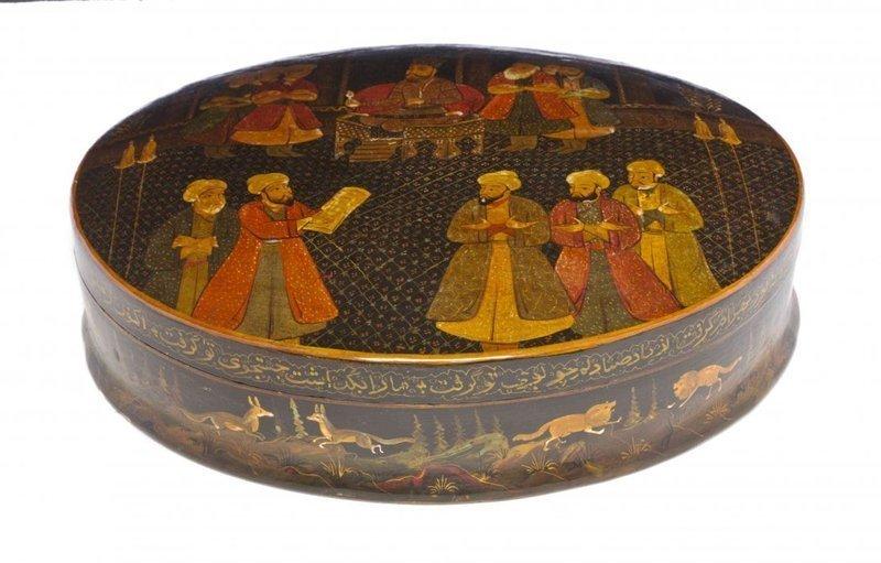 Fine Large Persian Quajar Lacquered Box,