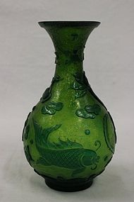 Chinese Green Peking Glass Bottle Vase.