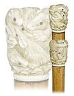 Japanese Carved Ivory Rat Cane-Ca. 1880