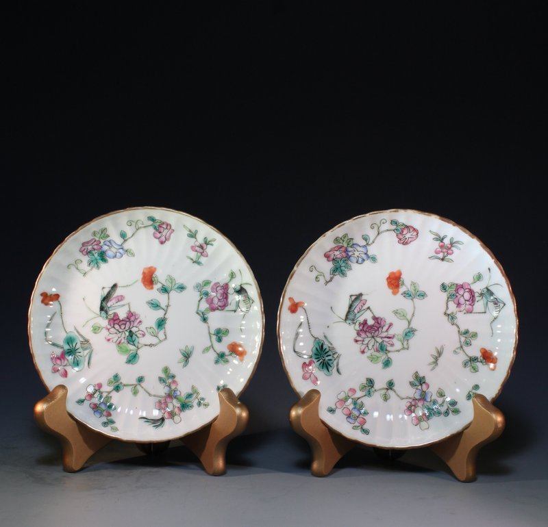 Pair of Antique Chinese Enameled Porcelain Bowls.