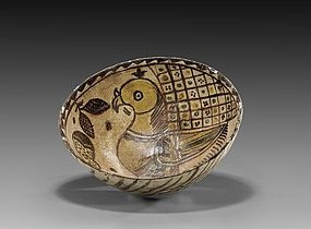Persian Glazed Pottery Bowl; 12th C.