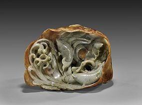 Superb Unusual Chinese Carved Jadeite; Swiming Fishes