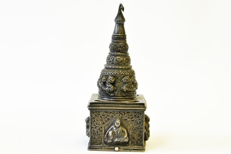 Superb Burmese Repousse Silver Ink Well.