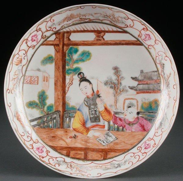Chinese Export Semi-Eggshell Porcelain Plate, C 1750.