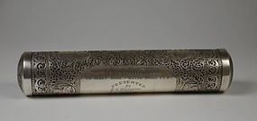 Cutch Indian Silver Scroll Case/Box.