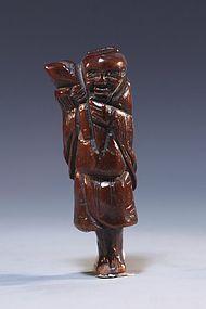 19th C. Japanese Carved Bone Netsuke;  Gamma Sennin.