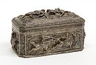 Superb Burmese Repousse Silver Box.